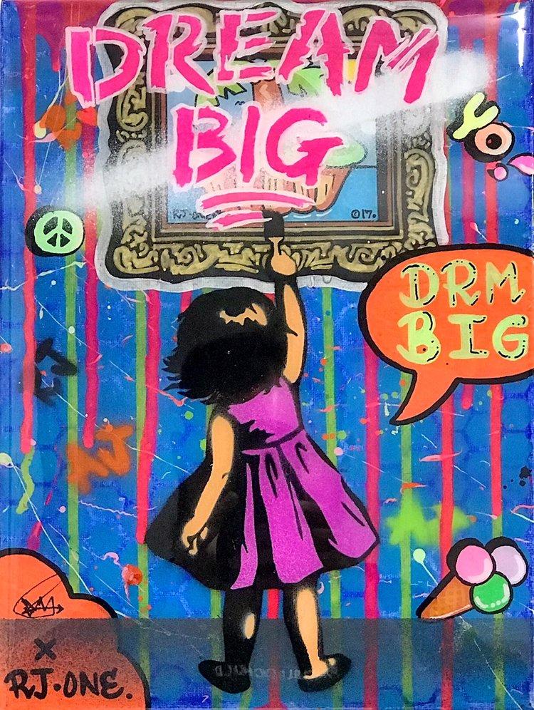 "Title: ""RJ.One Dream Big #8"" Artist: AJ Lavilla x RJ.One Size: 9x12 inches Series: Holiday Drop 2017"