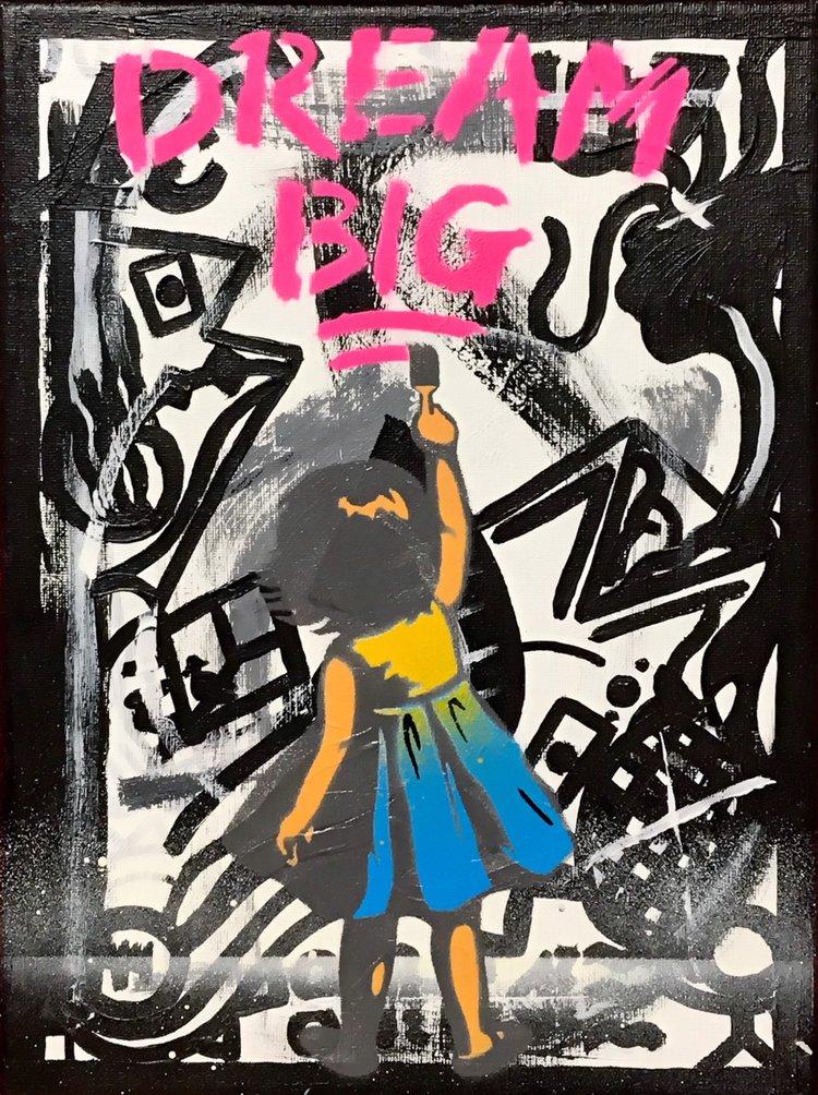 "Title: ""1471 Dream Big #3"" Artist: AJ Lavilla x 1471 Size: 9x12 inches Series: Holiday Drop 2017"