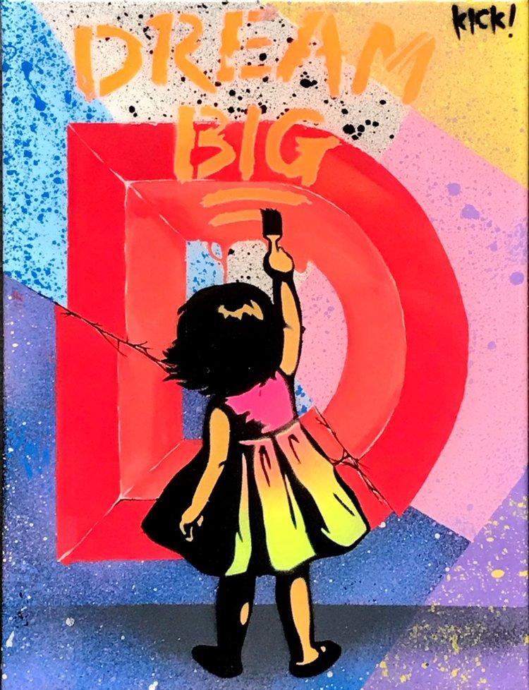 """Title: """"Kick Dream Big #1"""" Artist: AJ Lavilla x Kick Size: 9x12 inches Series: Holiday Drop 2017"""