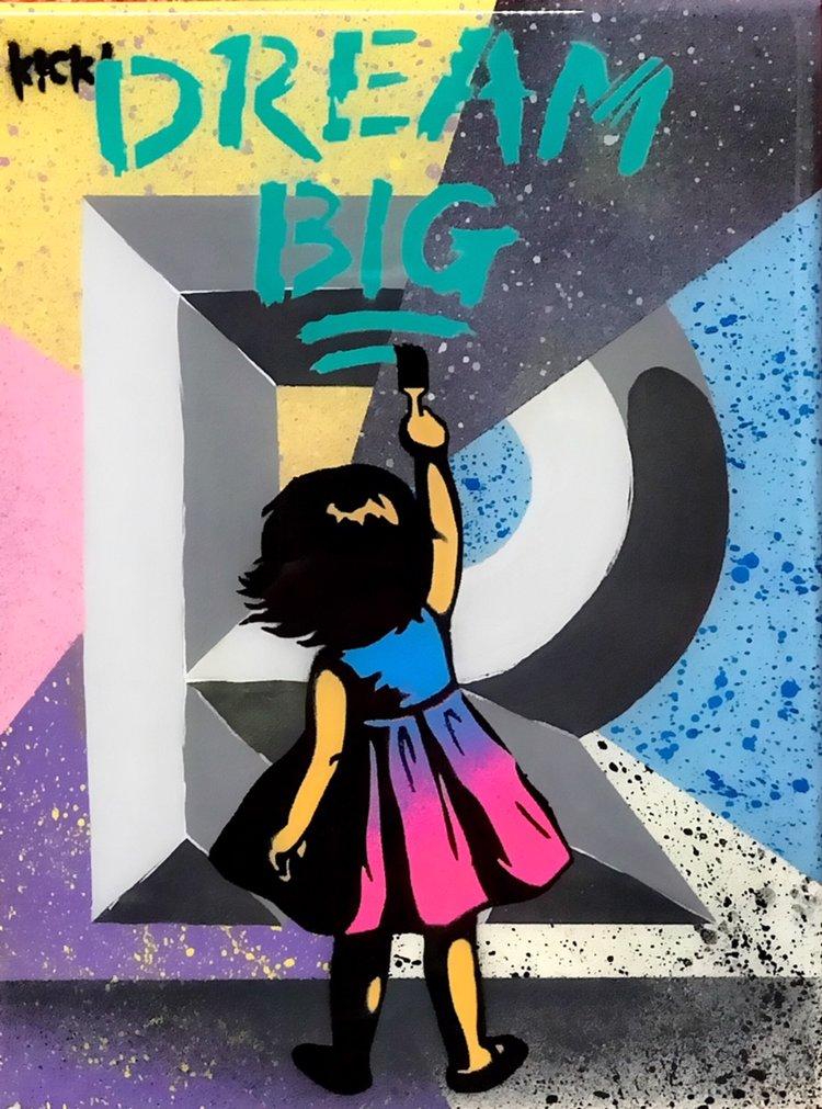 """Title: """"Kick Dream Big #2"""" Artist: AJ Lavilla x Kick Size: 9x12 inches Series: Holiday Drop 2017"""
