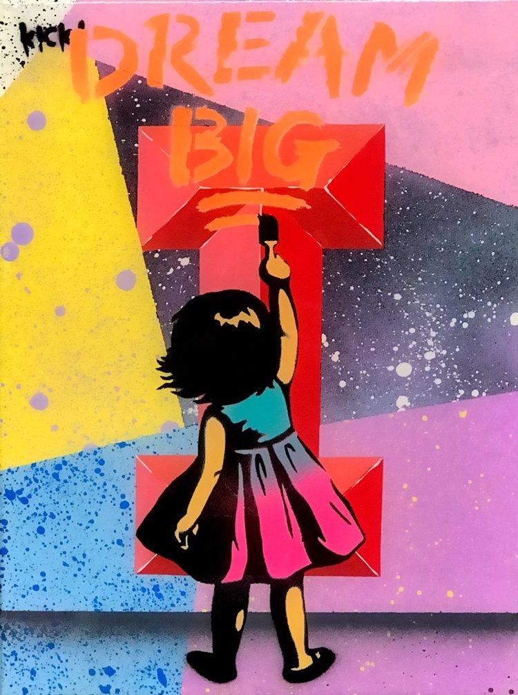 """Title: """"Kick Dream Big #7"""" Artist: AJ Lavilla x Kick Size: 9x12 inches Series: Holiday Drop 2017"""