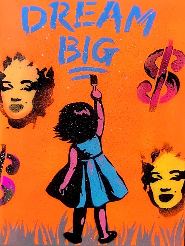 "Title: ""Warhol Inspired (Orange)"" Artist: AJ Lavilla Size: 9x12 inches Series: Holiday Drop 2"