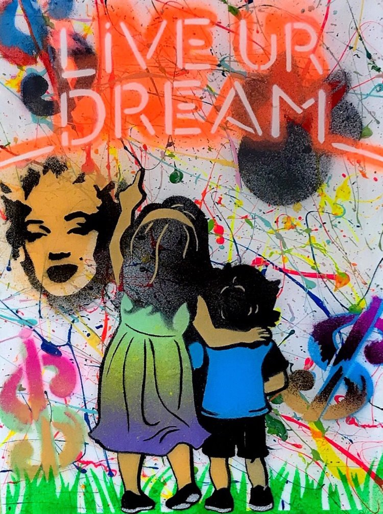 """Title: """"Live Your Dream Variant"""" Artist: AJ Lavilla Size: 9x12 inches Series: Holiday Drop 2"""
