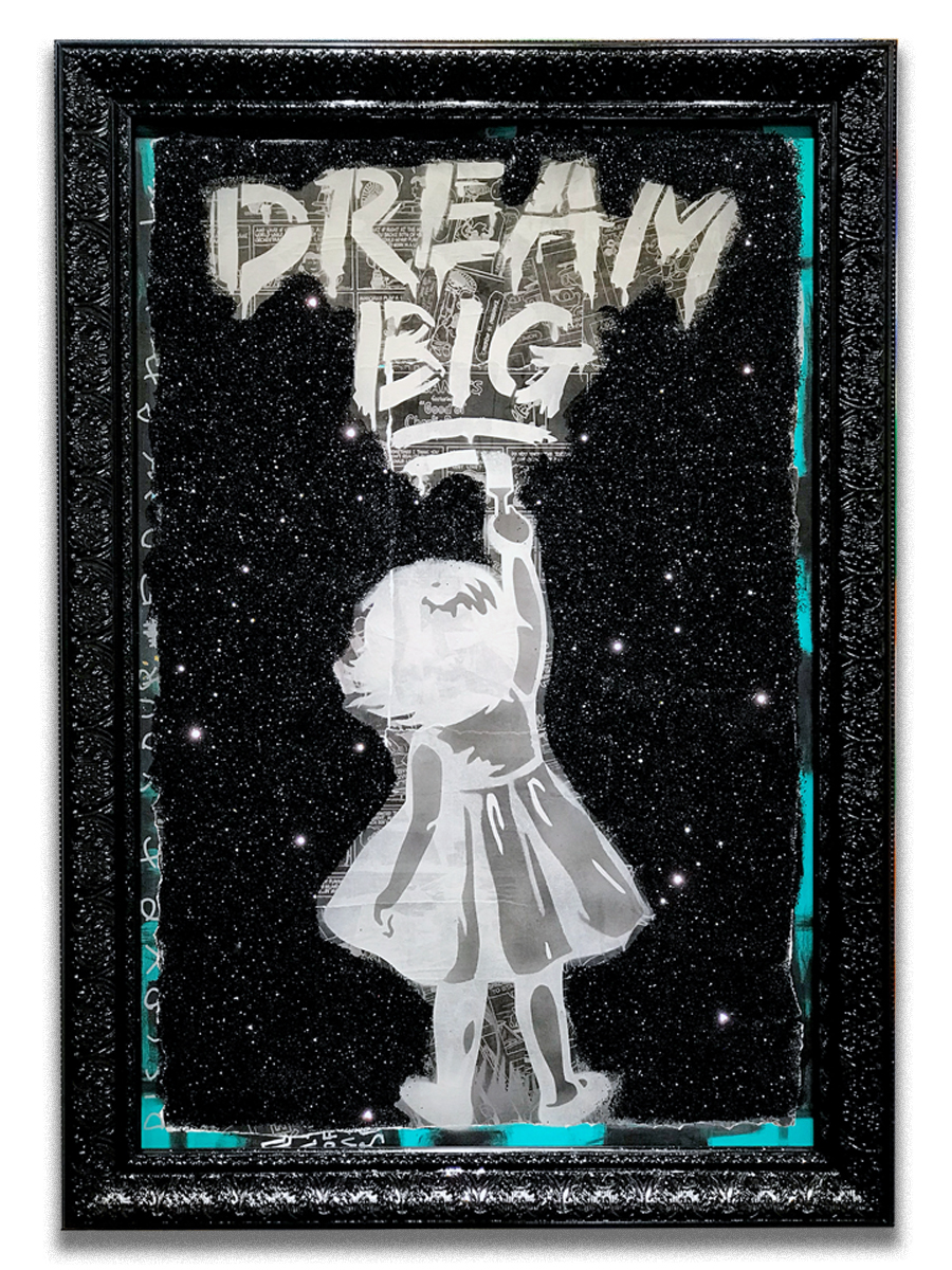 Dream Big Stars   - Mixed media, paper collage, stencil, embellished glitters on canvas  - mounted on 30 x 40 inch frame  - click   here   to contact for inquiry and pricing