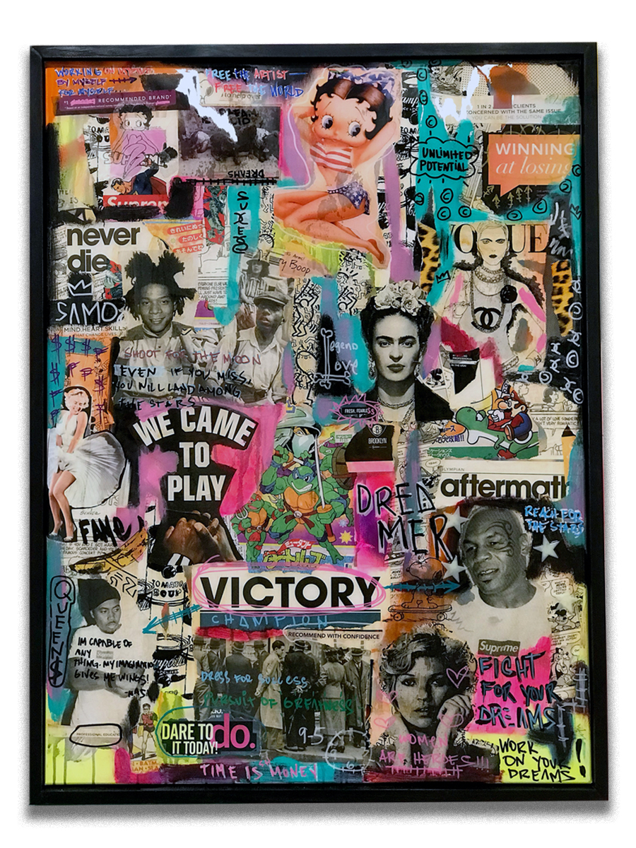 Victory, Betty & Tyson   - Mixed media, paper collage, acrylic resin finish on canvas  - Mounted on 32 x 42 inch floater frame  - click   here   to contact for inquiry and pricing