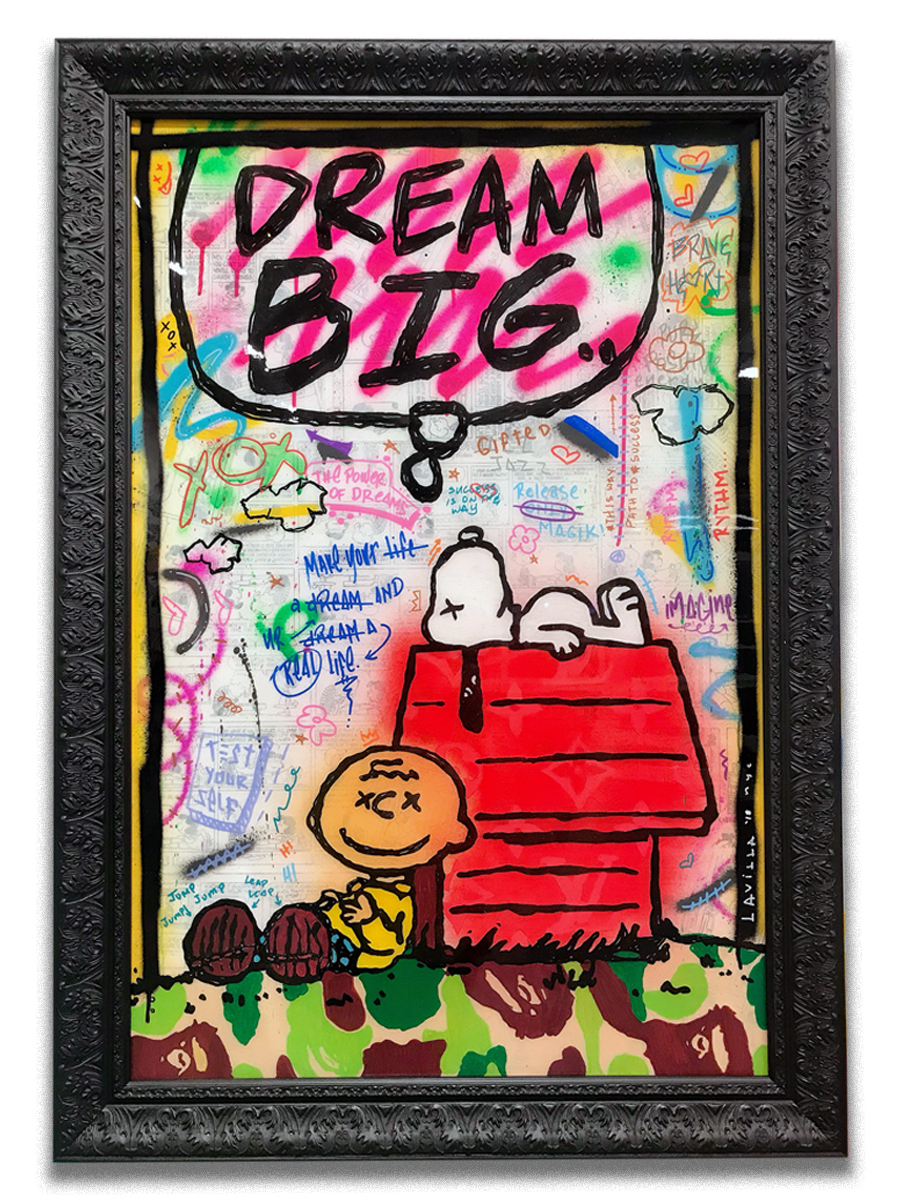 Dream Big Snoops    -  Acrylic & resin finish on canvas  - Mounted on 30 x 40 inch frame  - click   here   to contact for inquiry and pricing