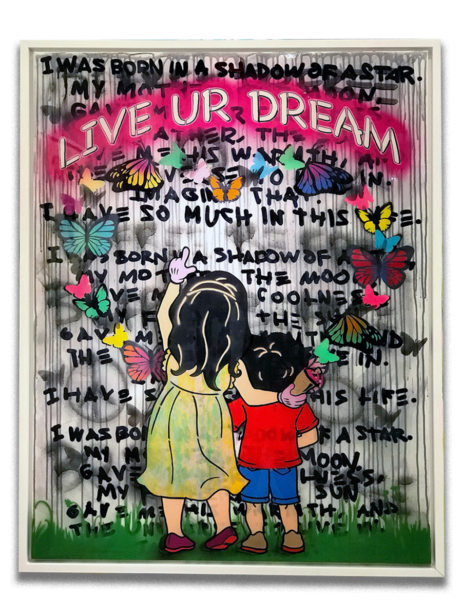 Live Your Dream (sold)    -  Stencil, acrylic & resin finish on canvas  - Mounted on 38 x 50 inch floater frame  - click   here   to contact for inquiry and pricing