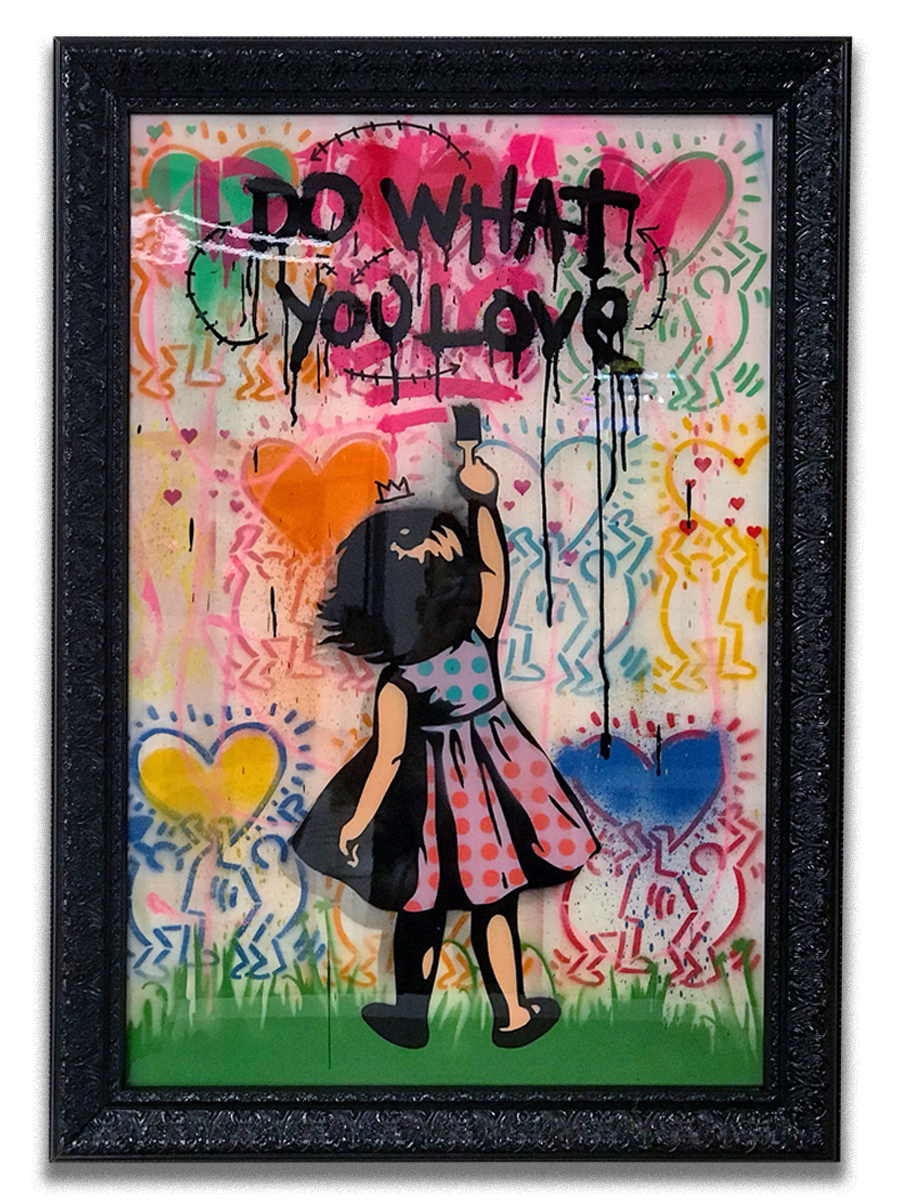 Do What You Love (sold)   - Stencil, arylic & resin finish on canvas  - Mounted on 30 x 40 inch frame  - click   here   to contact for inquiry and pricing