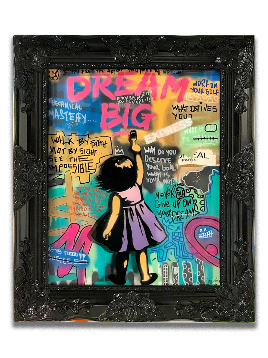Dream Big (purple dress) (sold)   - Mixed media, acrylic, stencil & resin on canvas  - Mounted on 21 x 25 inch frame  - click   here   to contact for inquiry and pricing