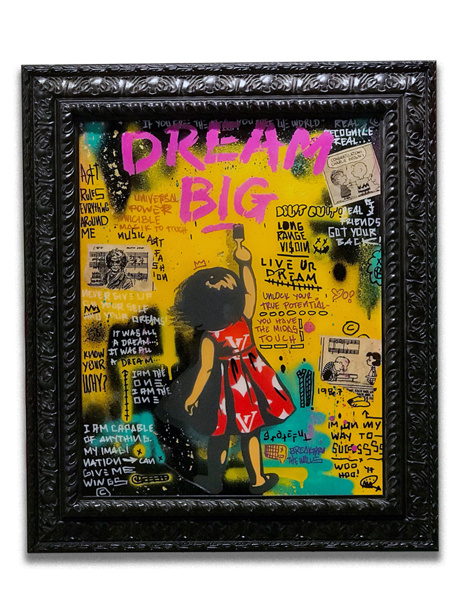 Dream Big Beethoven (sold)   - Acrylic, stencil. paper collage, stencil & resin finsh on canvas  - Mounted on 22 x 25 inch frame  - click   here   to contact for inquiry and pricing