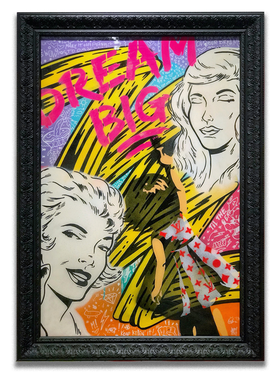 AJ Lavilla & Jappy collaboration   - Mixed media, collage, acrylic, aerosol spray & resin finish  - 24 x 36 inch canvas  - Mounted on 30 x 40 inch black frame  - click  here  to contact for inquiry and pricing