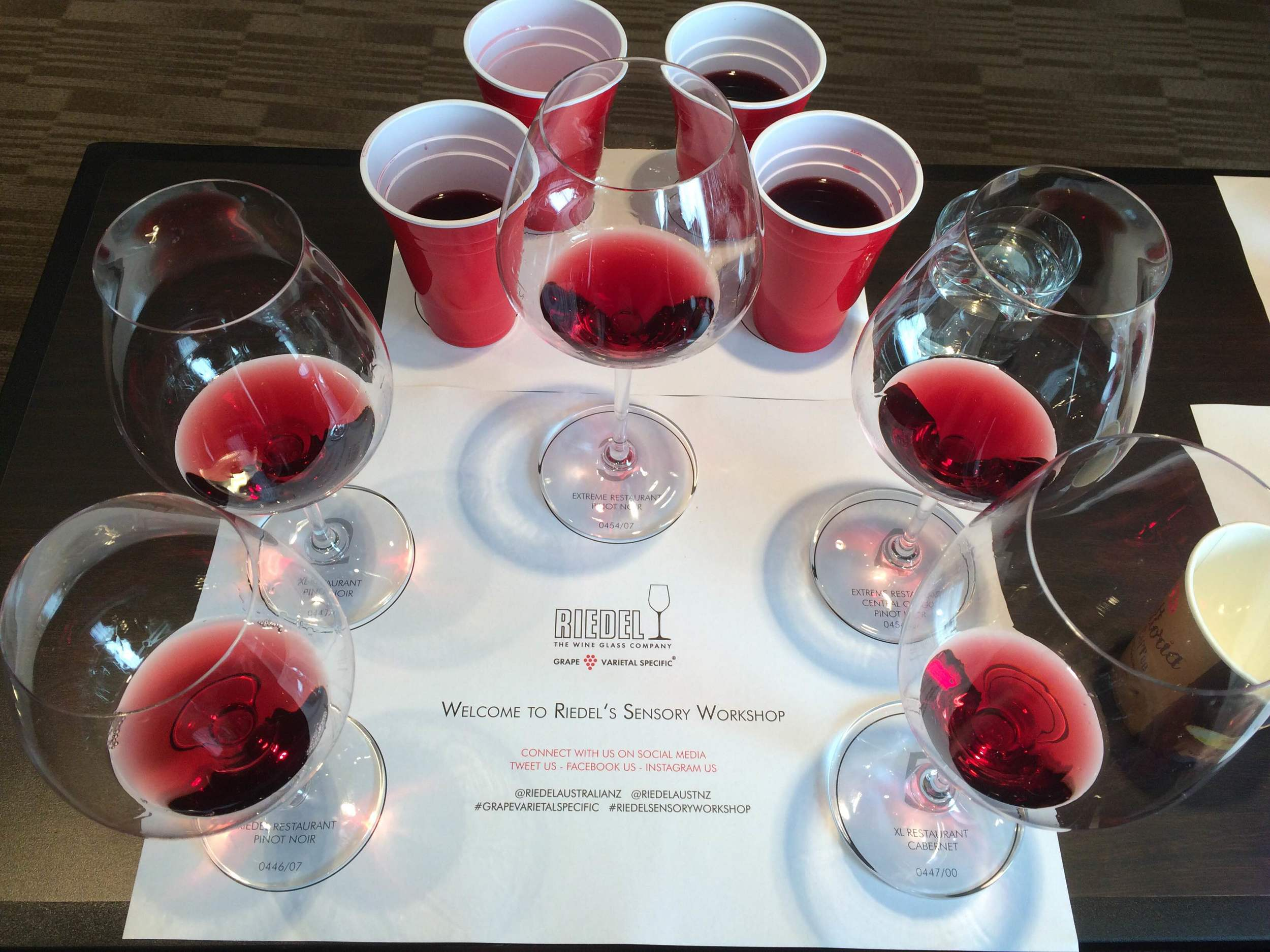 Five Riedel tasting glasses, with #1 on the left.