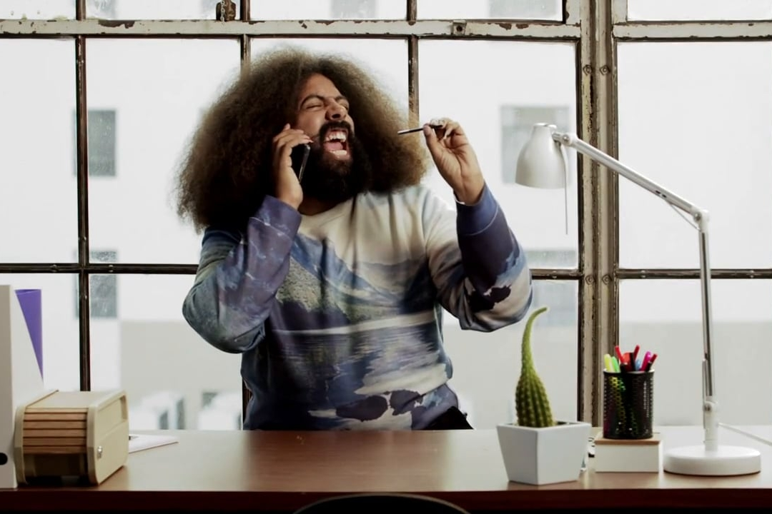 Samsung: S Penning  Musician/comedian Reggie Watts highlights how fun the features of Galaxy Note are via beatboxing.