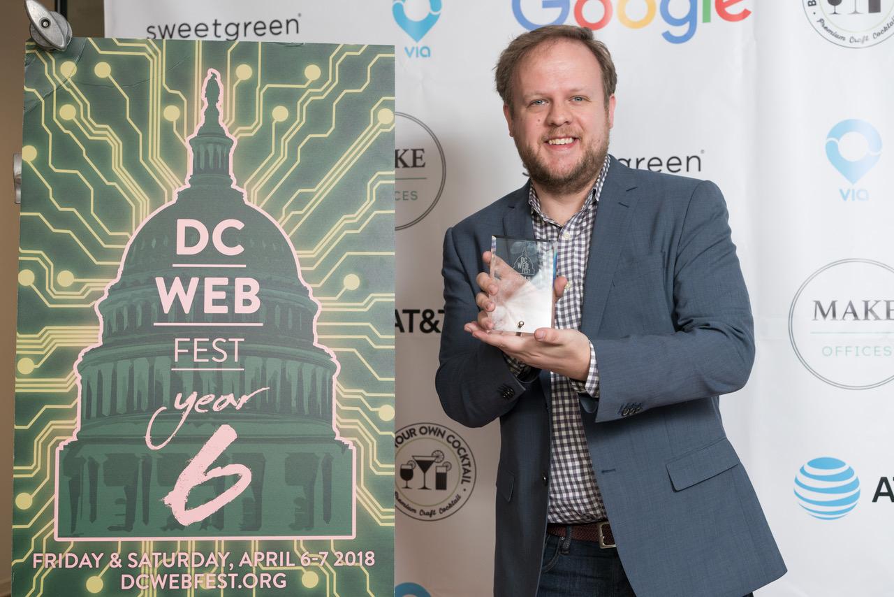 Co-producer Matt Britten accepts Gold for AR/VR.