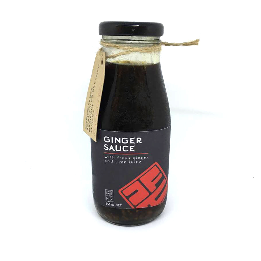 GINGER SAUCE  Made with fresh ginger, lime & lemon juice, brown sugar, soy sauce and fish sauce. Perfect with our dumplings or as a marinade for chicken, beef, pork or fish. A great way to dress an Asian salad