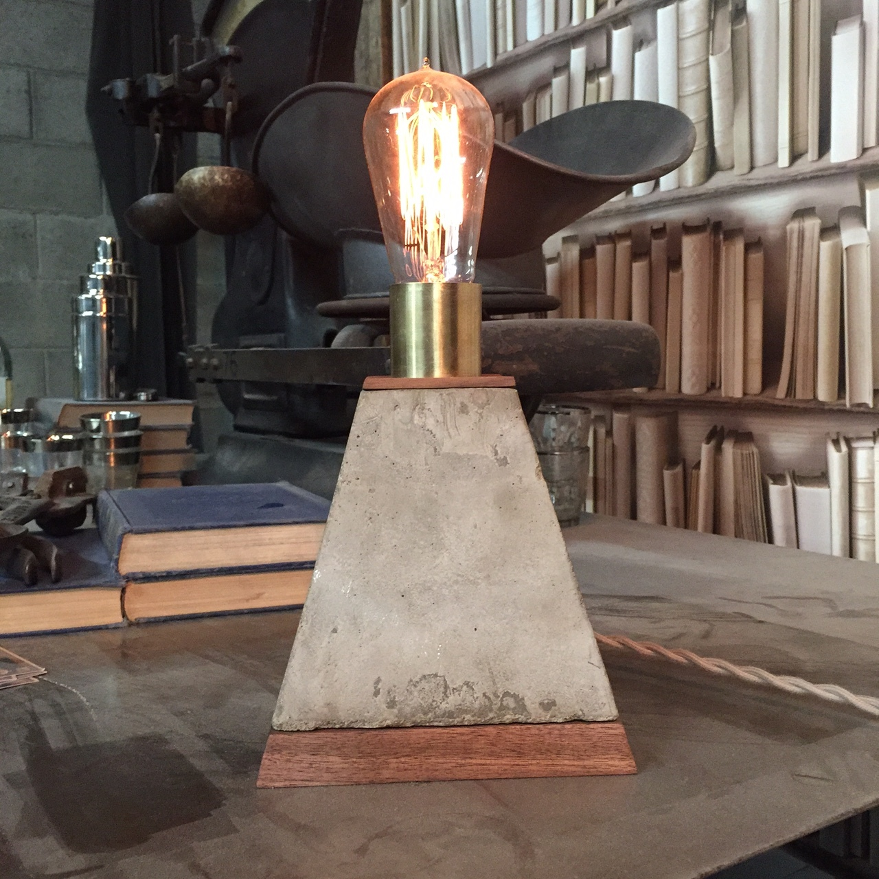 Walnut, Concrete, and Brass Touch Controlled Desk Lamp