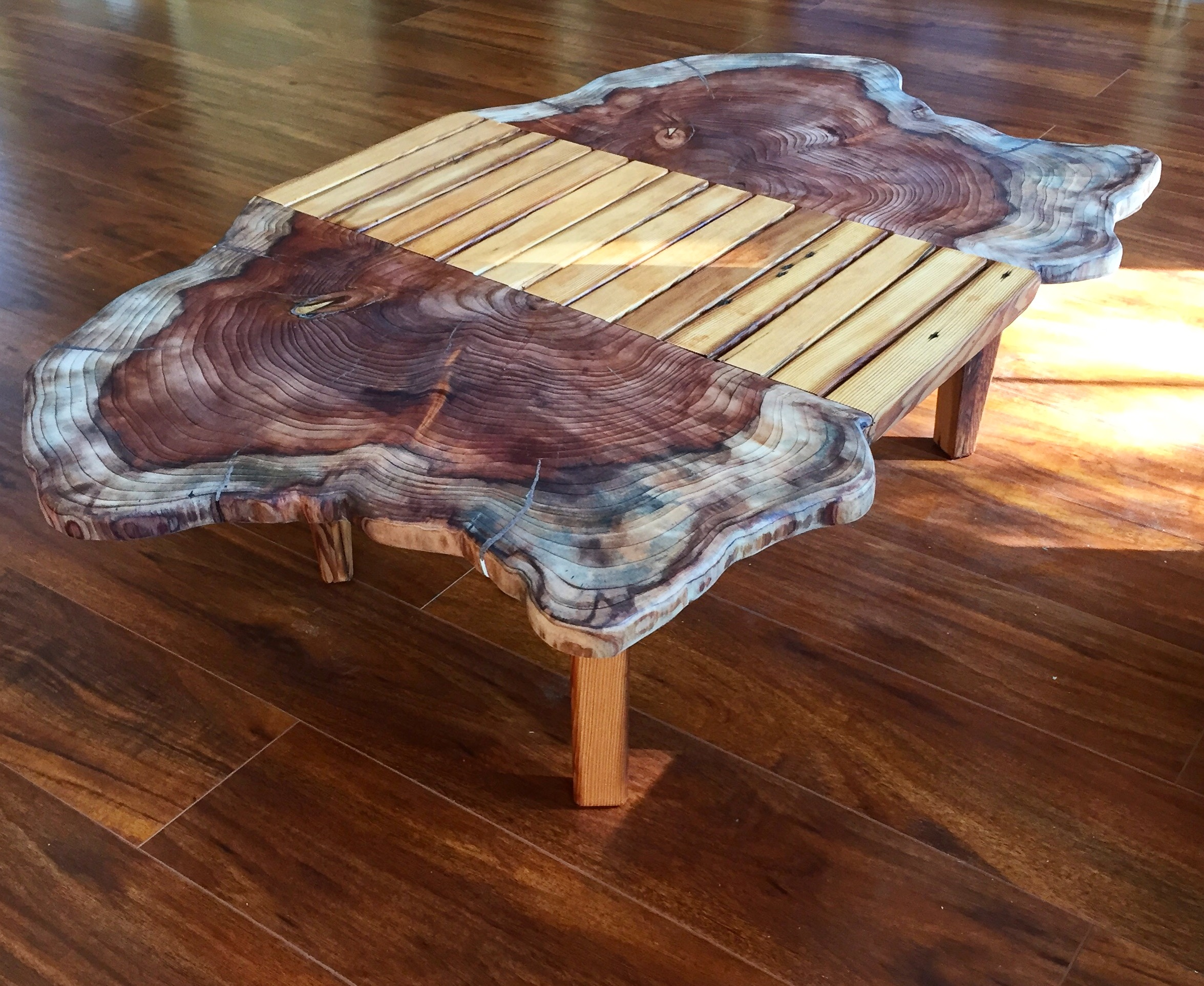 Felled Redwood and Reclaimed Doug Fir Coffee Table