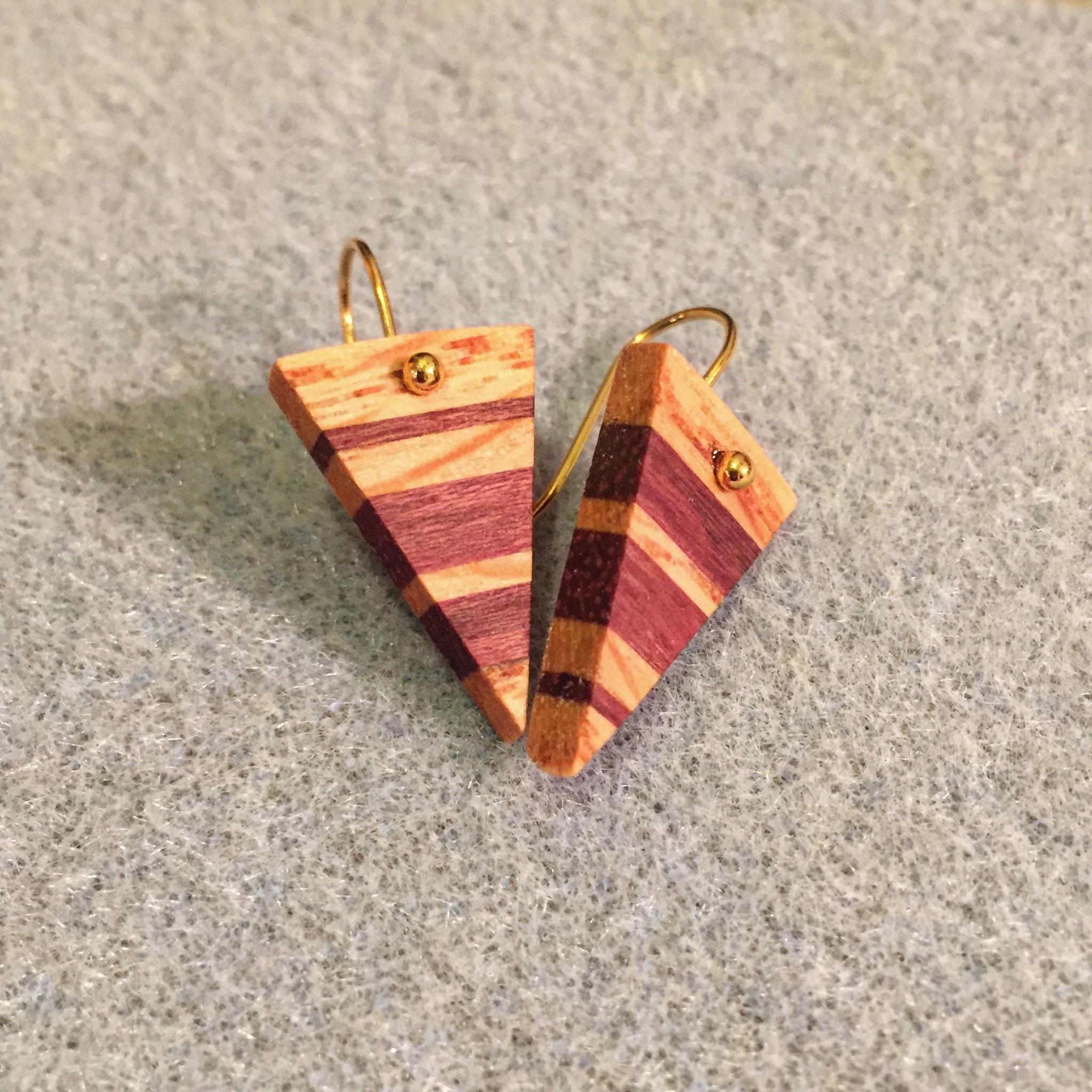Purpleheart and Red Oak Triangle Earrings