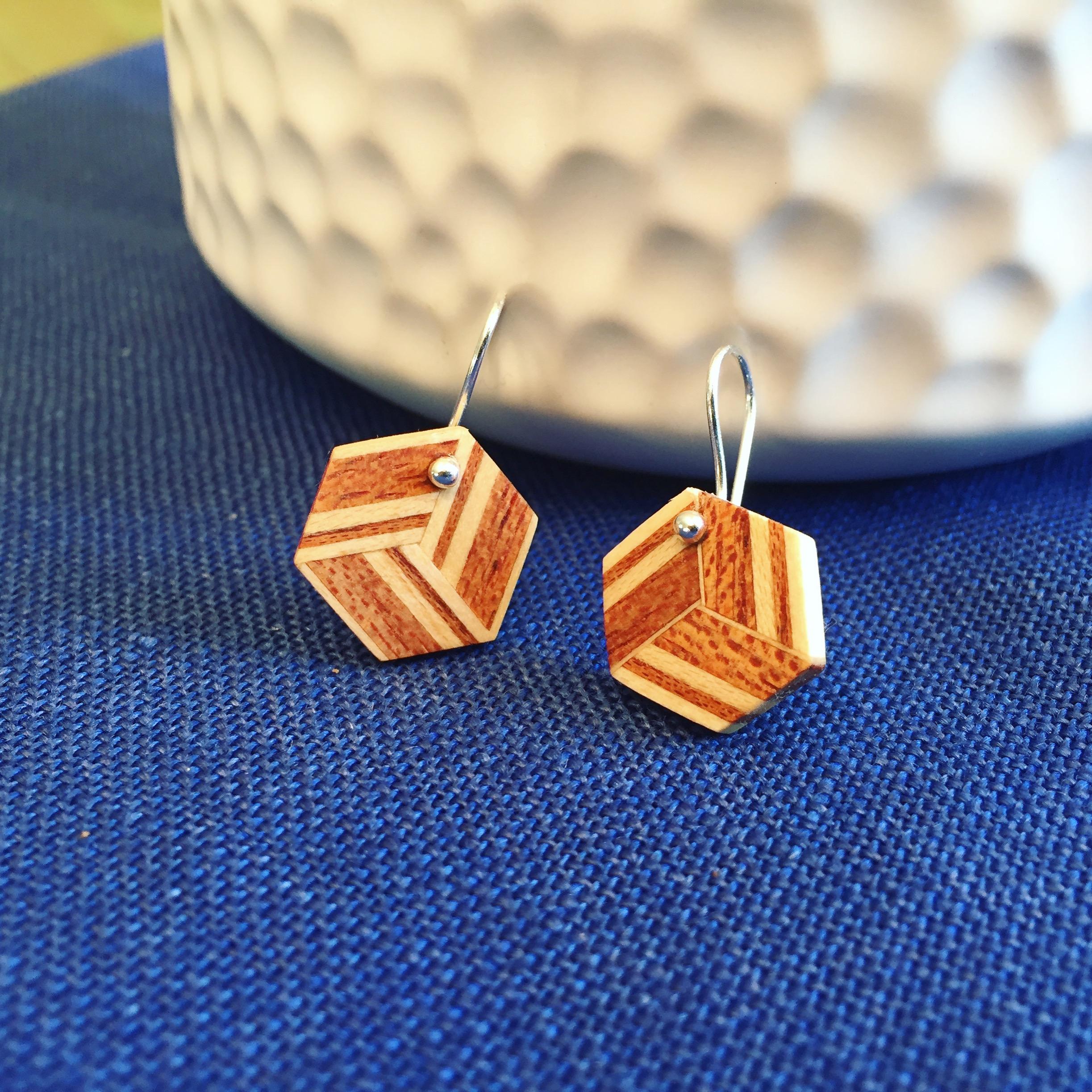 Mahogany and Maple Teselation Earrings