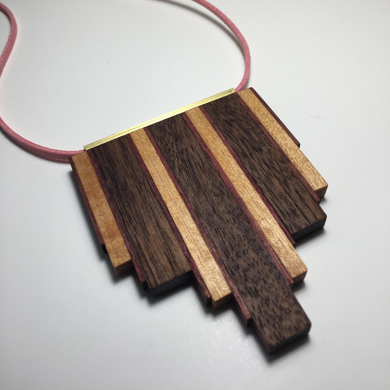 Black Walnut, Purpleheart, and Birch Necklace