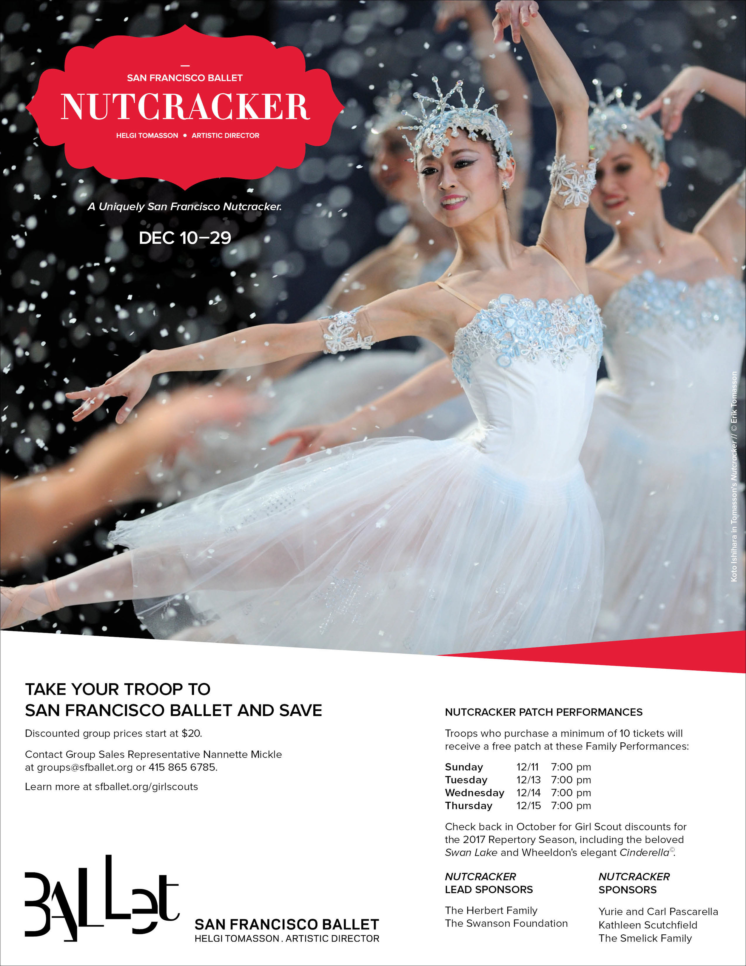 COMPANY: San Francisco Ballet  PROJECT: Corporate Flyer  MY ROLE: Designed layout according to brand guidelines along with the marketing department. Applied minor retouching.