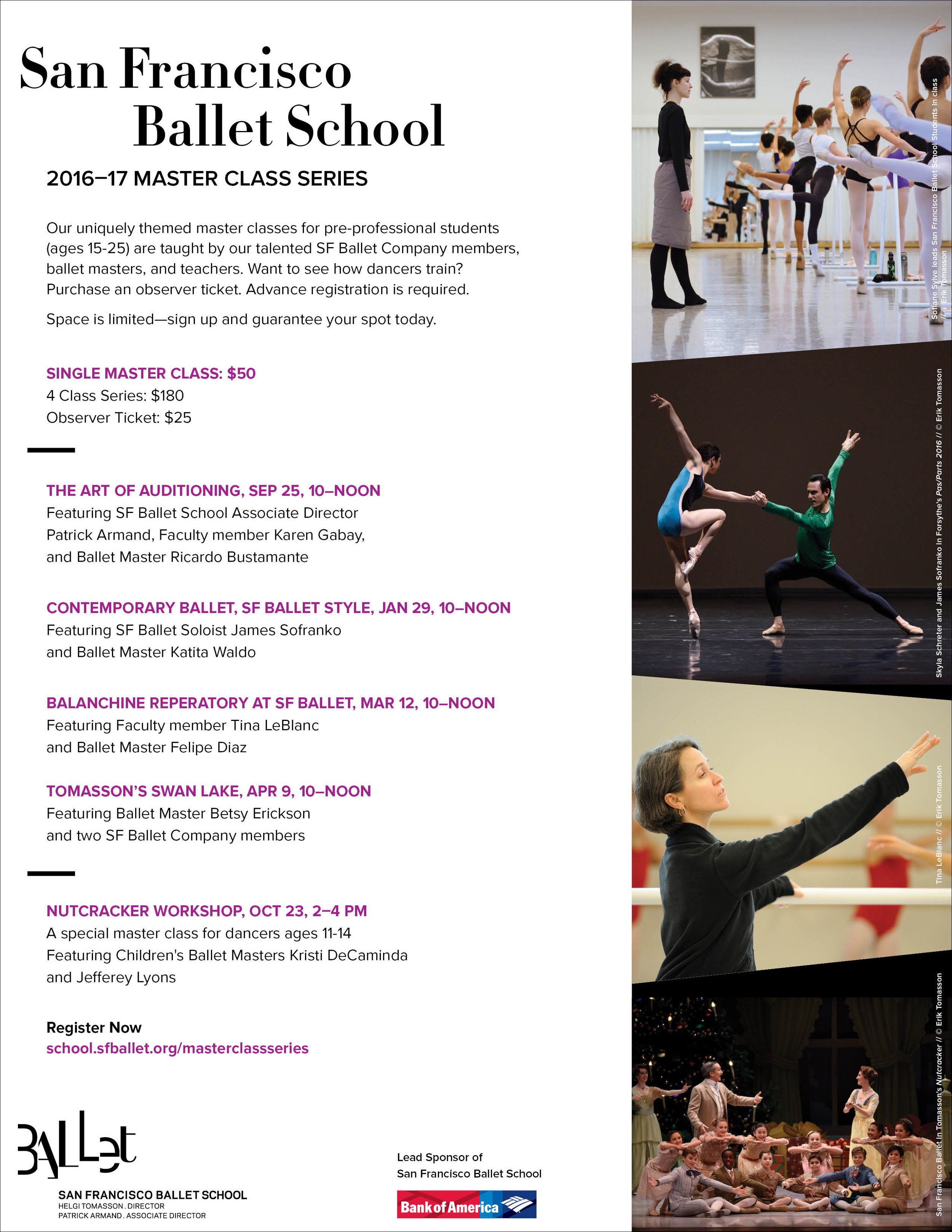 COMPANY: San Francisco Ballet  PROJECT: Flyer  MY ROLE: Designed layout according to brand guidelines along with the marketing department.