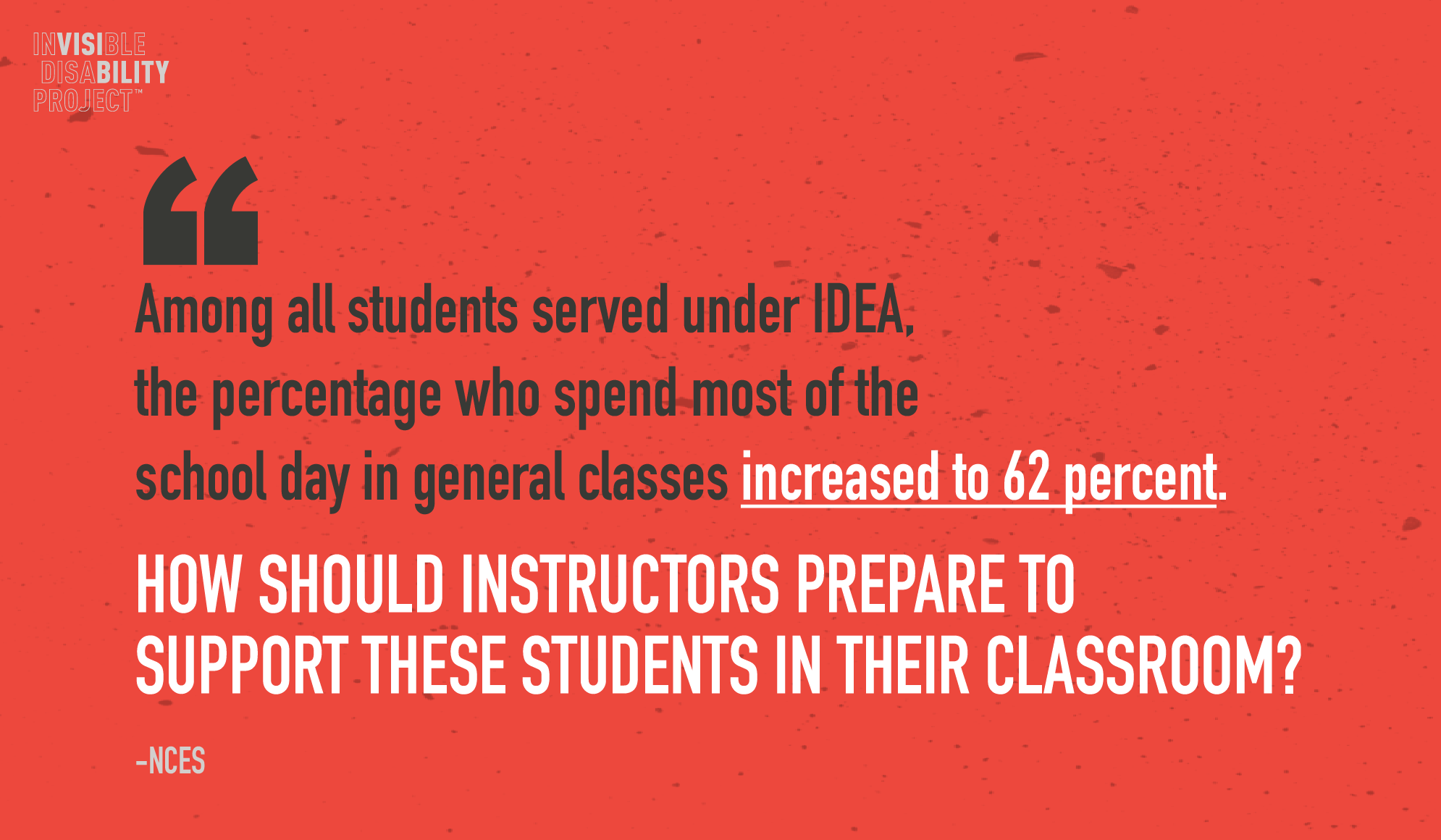 Among all students served under IDEA, the percentage who spend most of the school day in general classes increased to 62 percent (NCES). How should instructors prepare to support these students in their classroom?