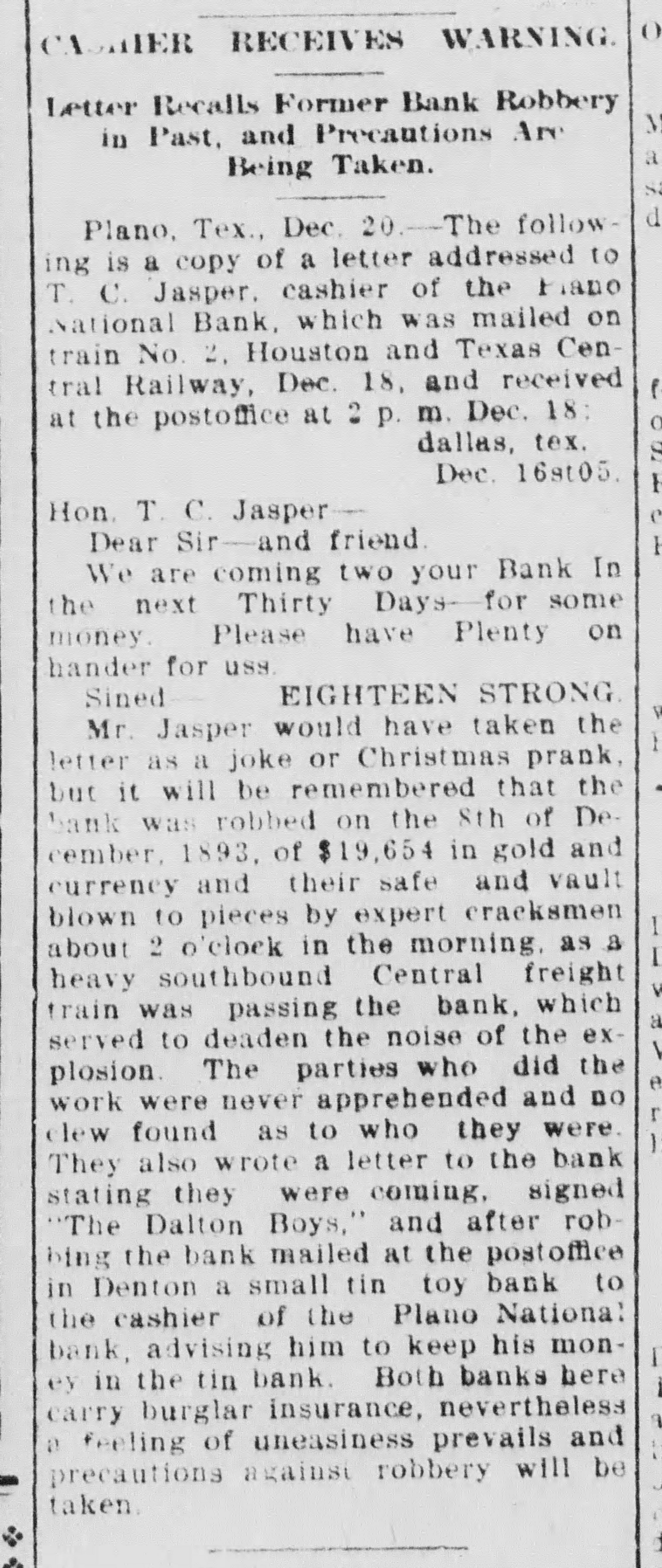 McKinney Dailey Courier, USA. Wednesday 20 December 1905.