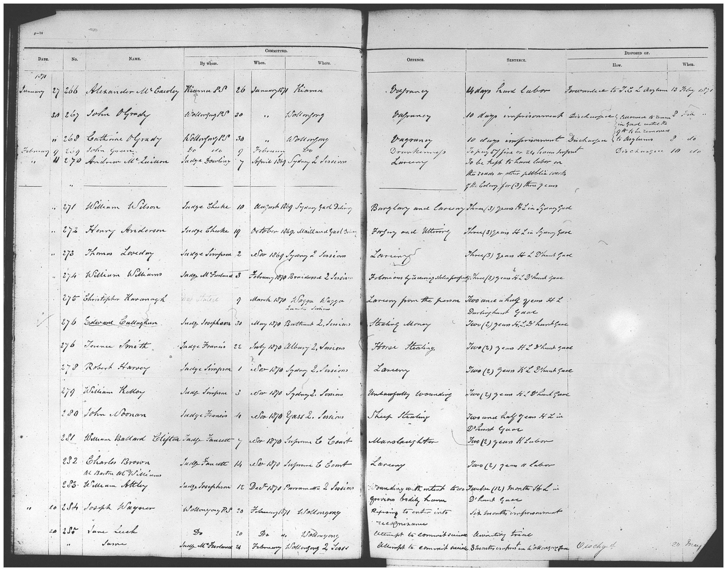[1]    SRNSW:  Entrance books Wollongong Gaol  (1866-1898), NRS2590, (5/1628-29), SR Reel 2378.