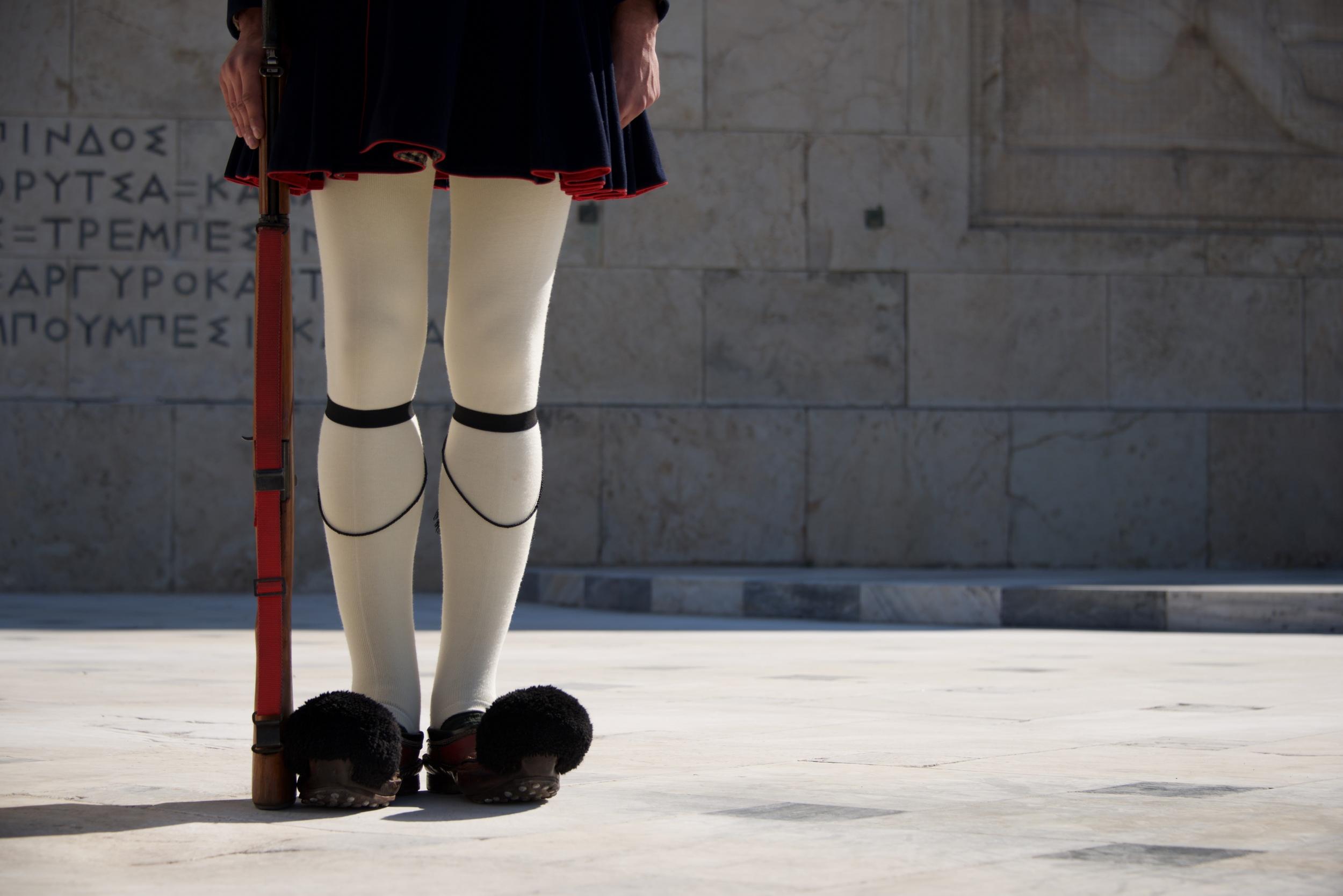 Legs of Greek presidential guardsman with rifle.jpg