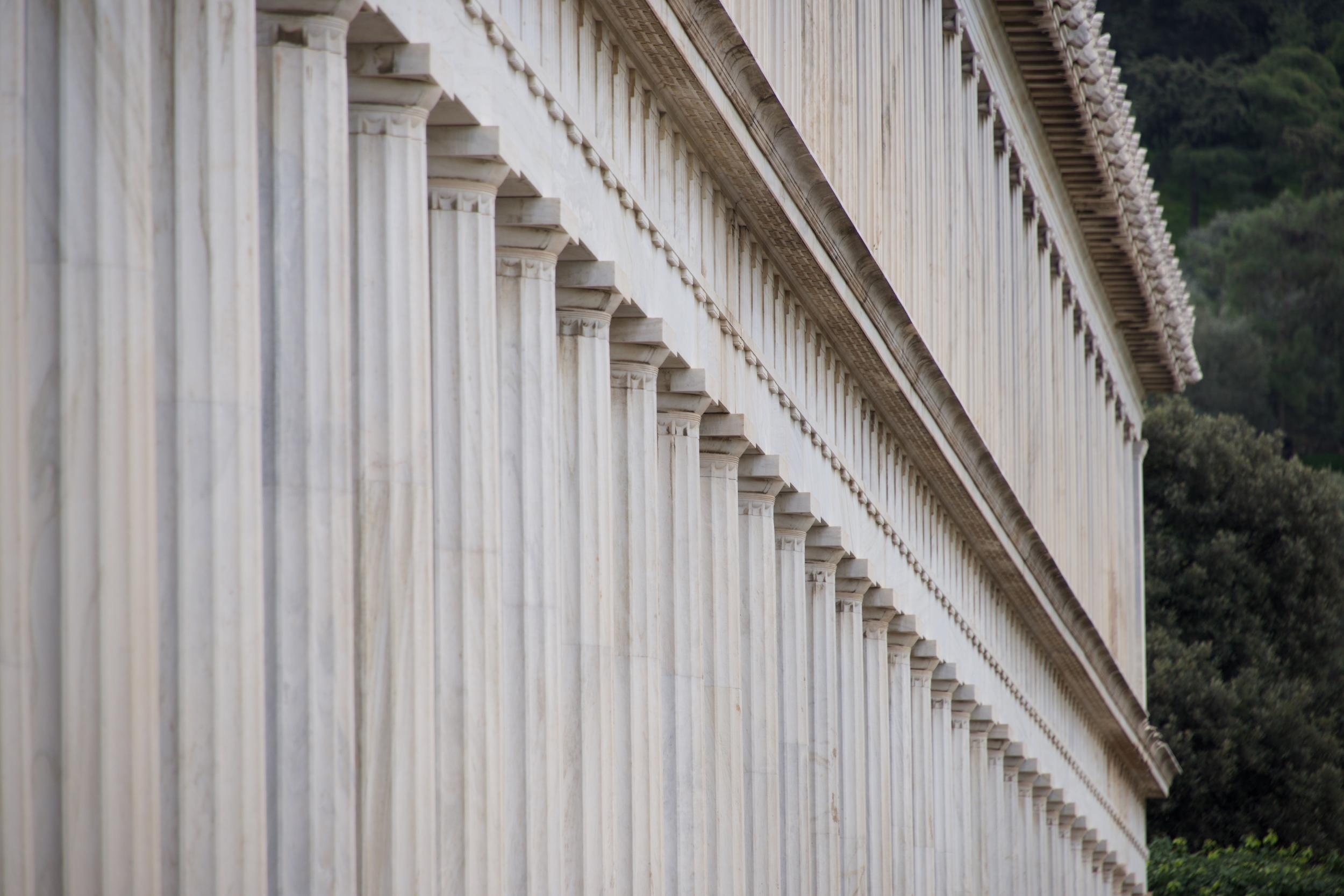 Exterior of marble Stoa of Attalos colonnade.jpg