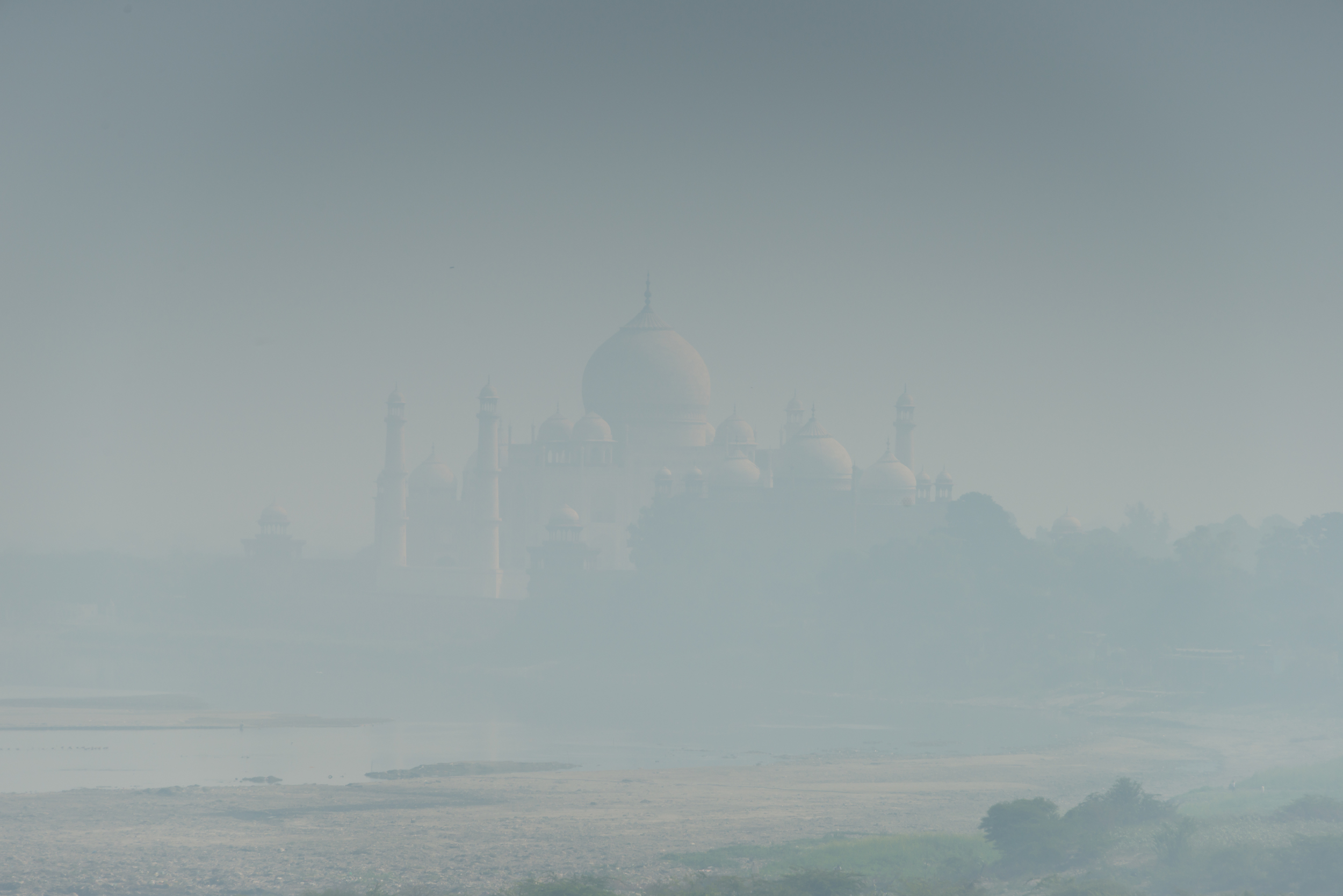 Taj Mahal from Agra Fort in blue haze (x2)