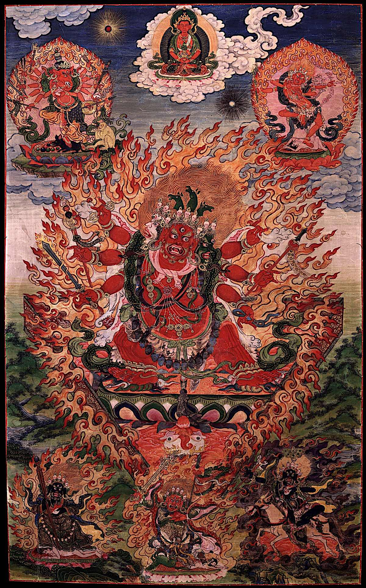 Hayagriva   (Tib.  Pema Sung ,  padma gsung ) the wrathful  Avalokiteśvara , the deity of speech