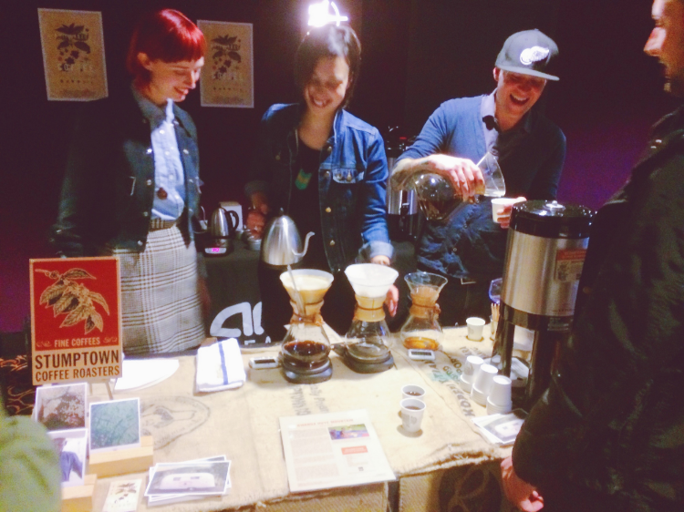 Stumptown booth serving the coffee in the film