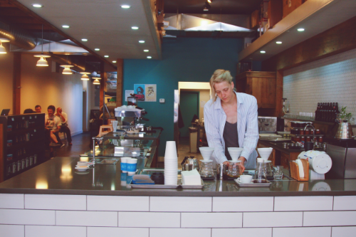 Barista making pour overs at Blueprint