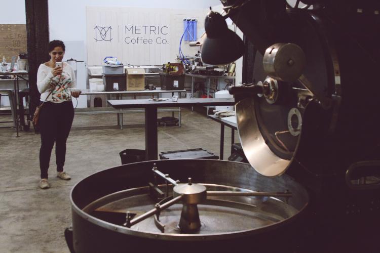 Tonya capturing the Metric Roasting Facility