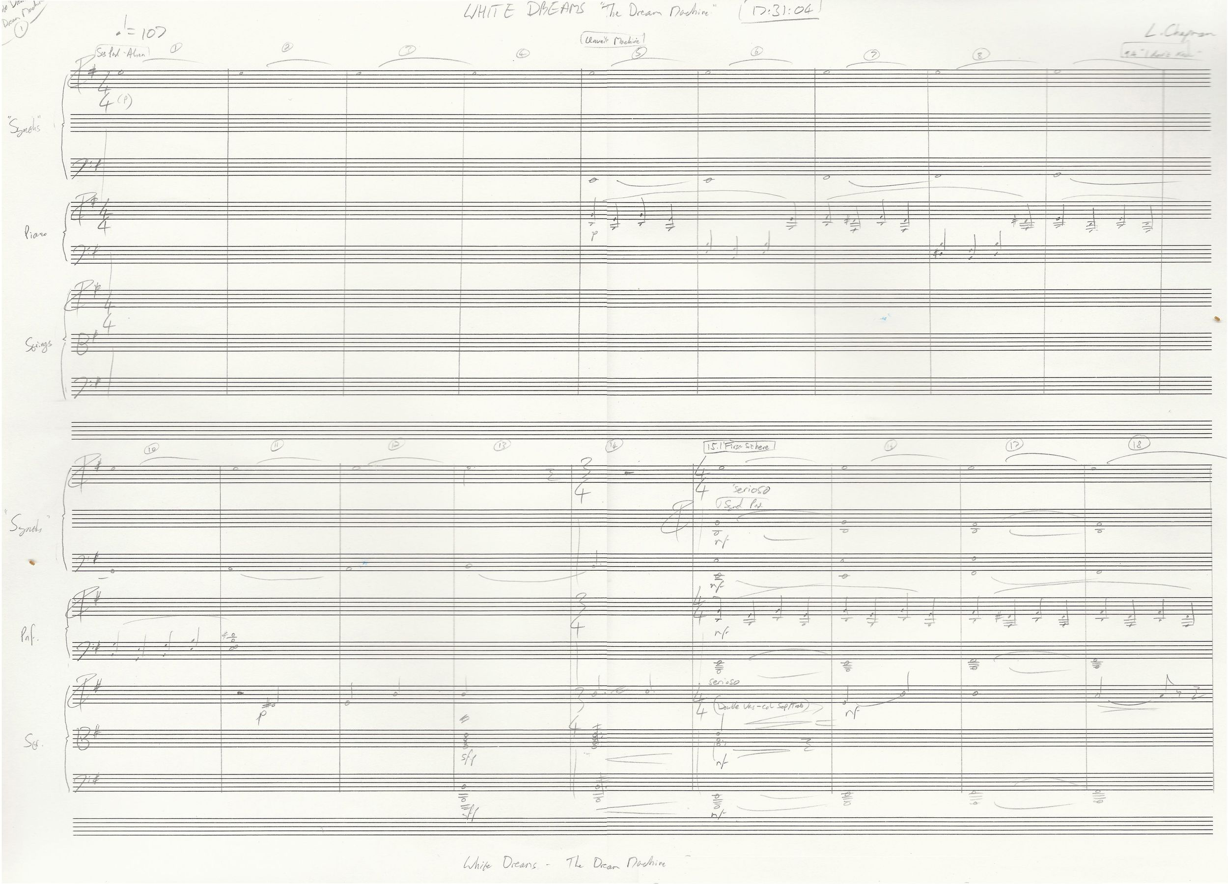 Page 1 of the sketch score to the Dream Machine Scene (Opens in new window)