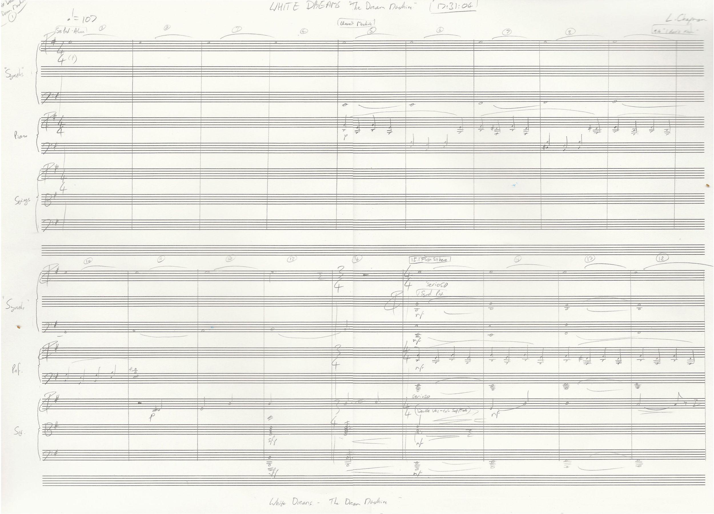 Page 1 of the score to the 'Dream Machine' scene.