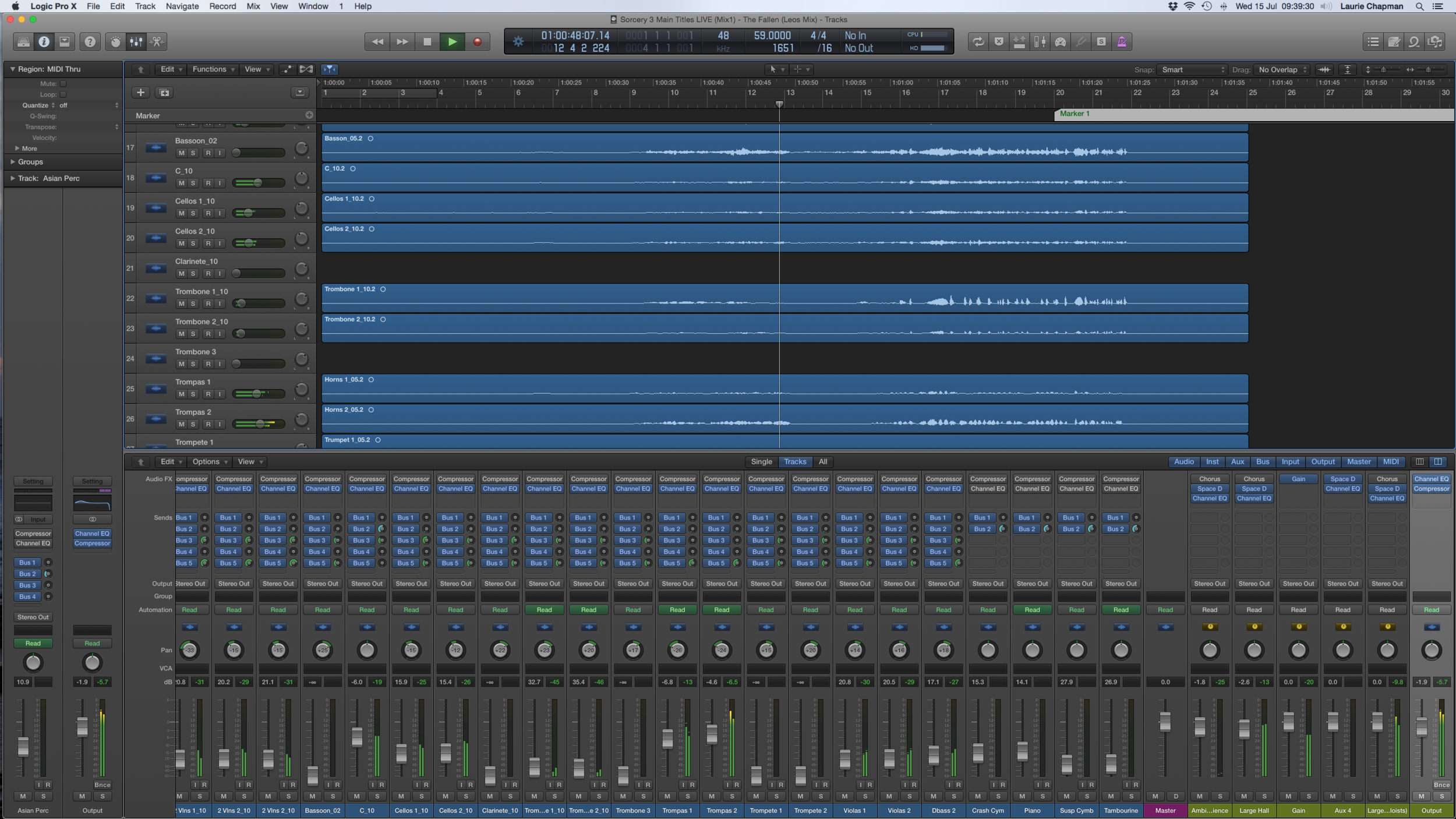 A screenshot from the mixing session. (Click to enlarge)