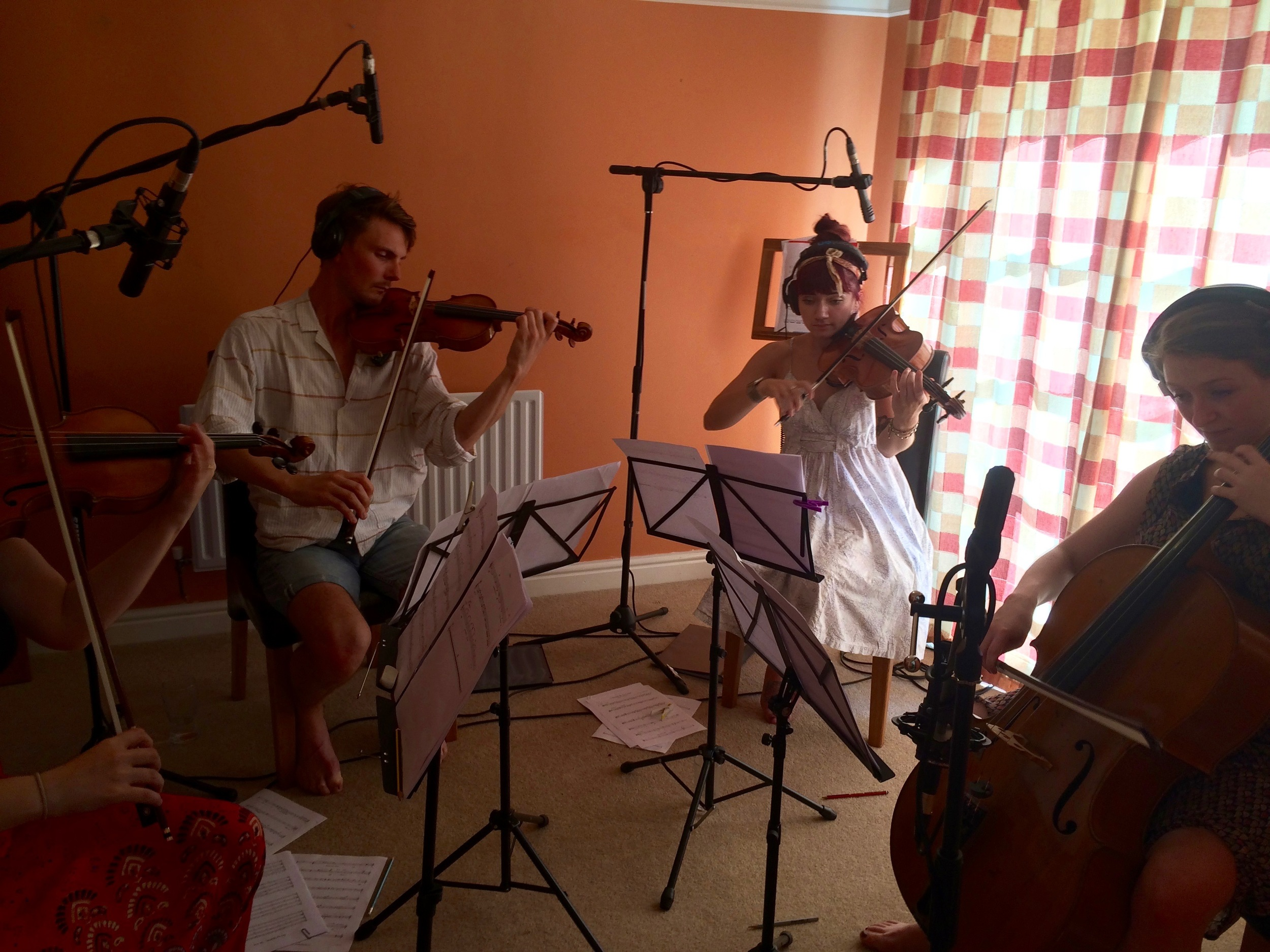 Members of Leos Strings rehearsing some works in progress by Laurence Chapman