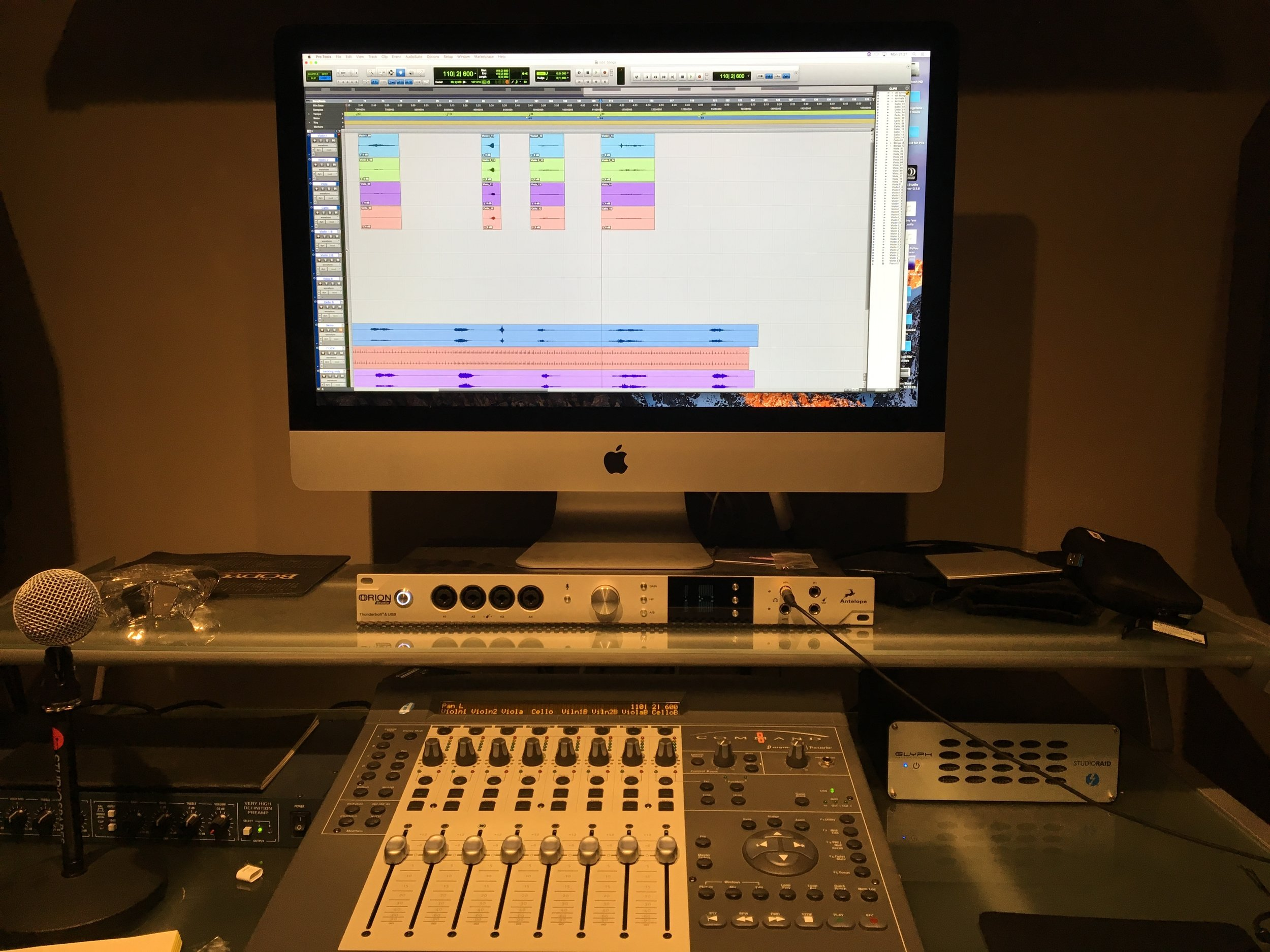 A shot of Richard Brooker's mixing desk while recording the final short 'stings.'