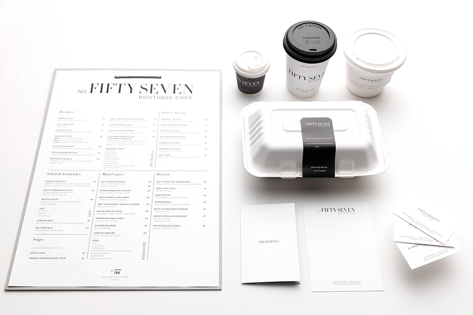 No Fifty Seven Boutique Cafe Menu, Coffee Cups and Packaging