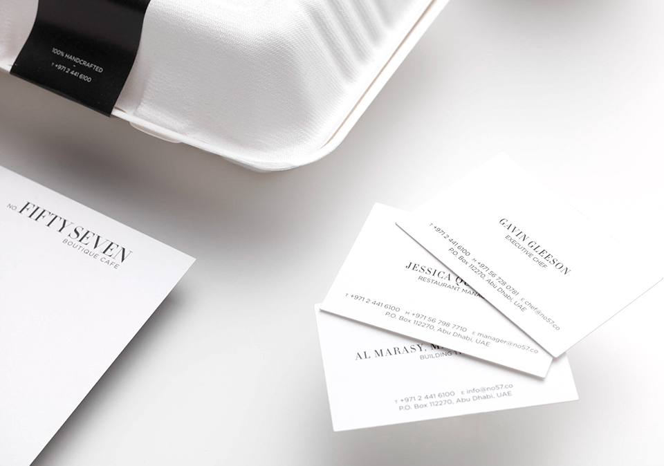 No Fifty Seven Boutique Cafe Business Cards