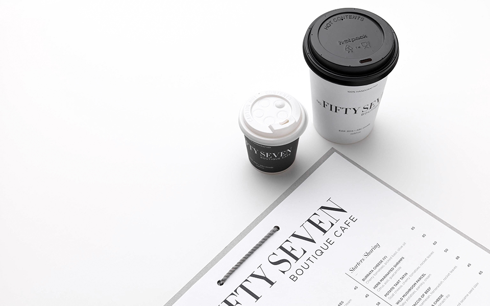 No Fifty Seven Boutique Cafe Cups and Menu