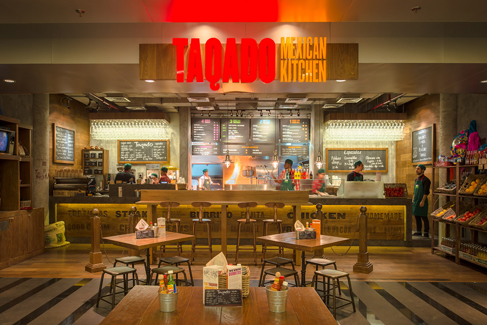 Taqado Mexican Kitchen Signage and Interior DIFC