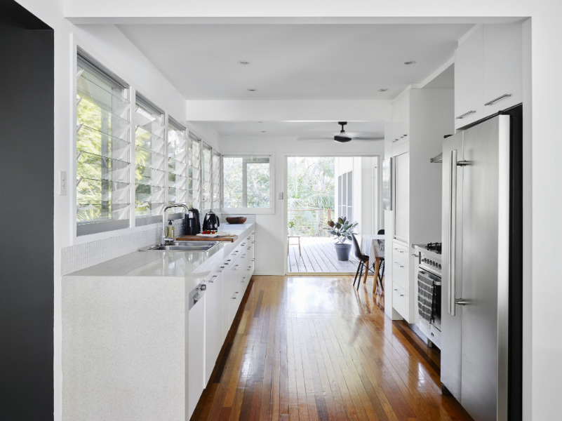 large galley style kitchen