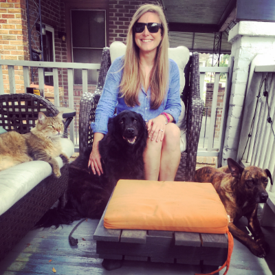 Stacey with her fur-children as captured by her fiance, Adam