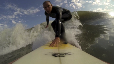 Catching waves during the winter on folly beach