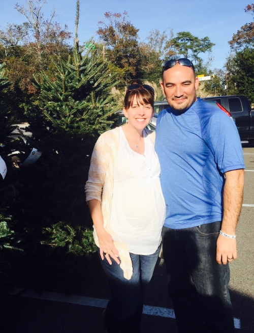 Angela and David, Christmas tree shopping, in short sleeves, no less.