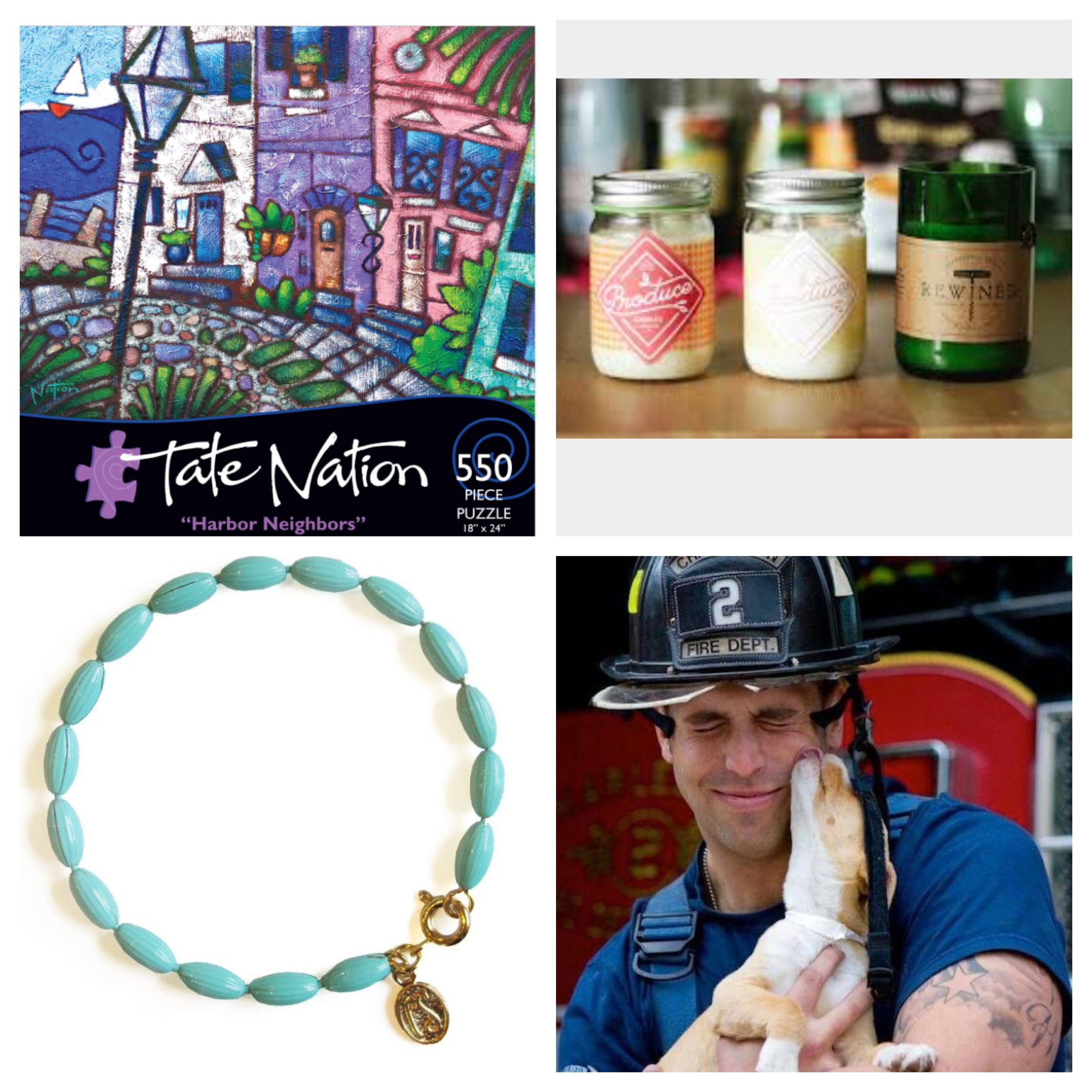Clockwise: Tate Nation Puzzle, Produce and Rewined Candles from Candlefish, Rice Bead Jewelry, Charleston Animal Society Fireman